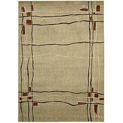 Nourison Monaco Beige Abstract Rug (5'3 x 7'5)