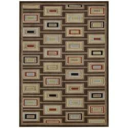 Nourison Monaco Brown Abstract Rug (7'9 x 10'10)