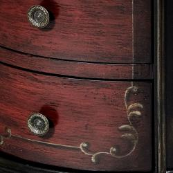 Hand-painted Black/ Red Round Accent Chest