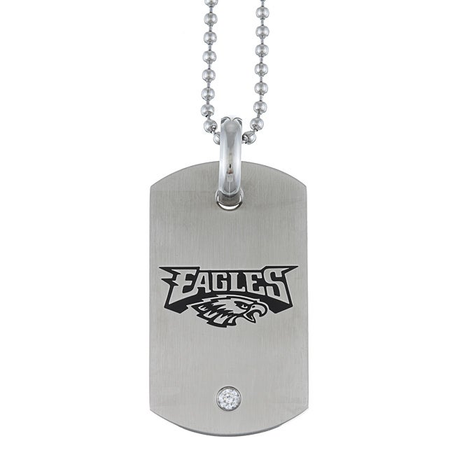 Stainless Steel Cubic Zirconia Philadelphia Eagles Dog Tag