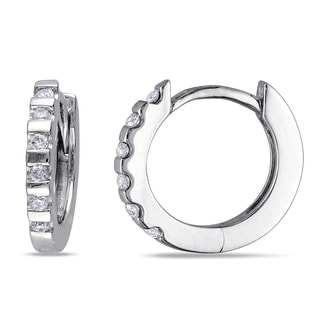 Haylee Jewels 10k White Gold 1/10ct TDW Diamond Hoop Earrings (G-H, I2-I3)