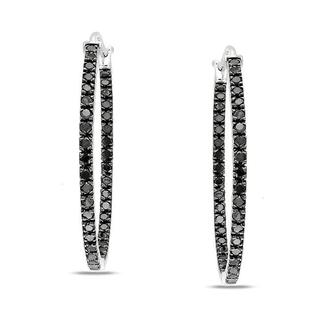 Miadora Sterling Silver 1ct TDW Black Diamond Hoop Earrings