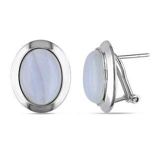 M by Miadora Sterling Silver White Agate Stud Earrings