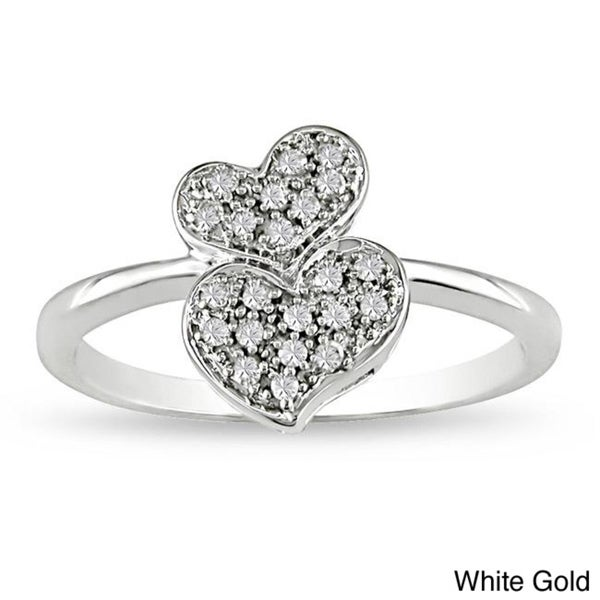 Miadora 10k Gold 1/10ct TDW Diamond Heart Ring (G-H, I2-I3)