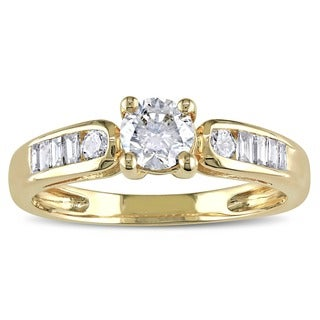 Shira Design 14k Yellow Gold 3/4ct TDW Diamond Engagement Ring (G-H, I2-I3)