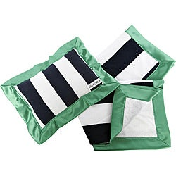 Oliver B Navy and Green Stroller Blanket and Pillow Set