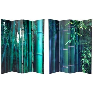 Canvas 6-foot Double-sided Bamboo Tree Room Divider (China)