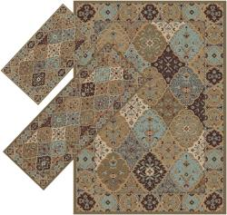 Appealing Brown and Blue Calico Rugs (1'8 x 2'6) (1'10 x 5'4) (4'11 x 7')