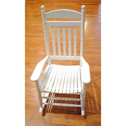 White Weather-resistant Mango Wood Patio Rocking Chair (China)