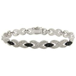 Sterling Silver 1/10ct TDW Black Diamond 'X' Bracelet