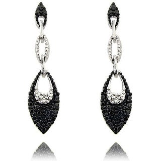 Finesque Sterling Silver Black Diamond Accent Dangle Earrings