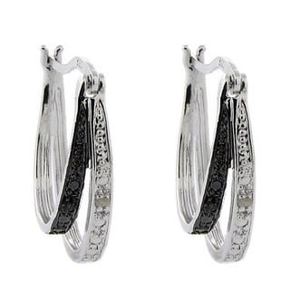 Sterling Silver Black and White Double Hoop Earrings with Diamond Accent