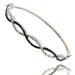 Finesque Sterling Silver 1/4ct TDW Black and White Diamond Bangle Bracelet (I-J, I2-I3)