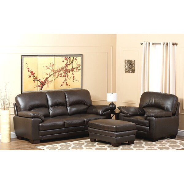 ABBYSON LIVING Charleston Premium Top-grain Leather Sofa, Armchair and Ottoman Set