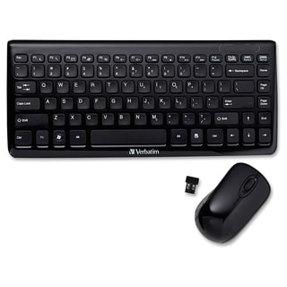 Verbatim Wireless Mini Slim Keyboard and Optical Mouse - Black