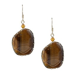 Alexa Starr Goldtone Tiger's Eye and Crystal Earrings