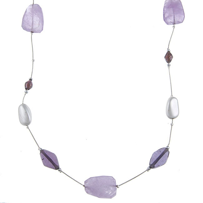 Alexa Starr Silvertone Amethyst Illusion Long Necklace