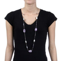 Alexa Starr Silvertone Amethyst Illusion Long Necklace