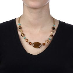 Alexa Starr Goldtone Tiger's Eye and Turquoise Necklace