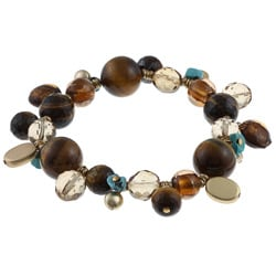 Alexa Starr Goldtone Tiger's Eye and Turquoise Stretch Bracelet