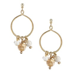 Alexa Starr Genuine Rutilated Quartz Cluster Hoop Earrings