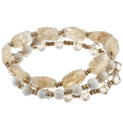 Alexa Starr Genuine Rutilated Quartz Stretch Multiple Bracelets Set