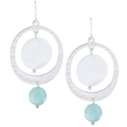 Alexa Starr Genuine Amazonite and Shell Silver Hoop Ear