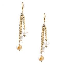 Alexa Starr Goldtone Genuine Rutilated Quartz Tassel Earrings