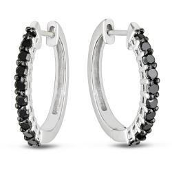 Miadora Sterling Silver 1/2ct TDW Black Diamond Hoop Earrings