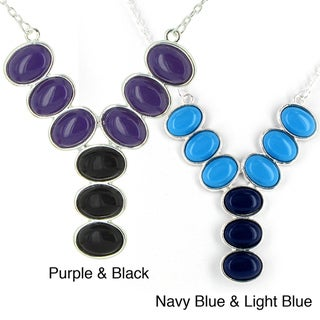 Silvertone Purple and Black Stone Drop Necklace