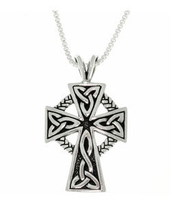 CGC Antique Finish Sterling Silver Celtic Cross Pendant (18-inch)