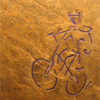 Hand-carved Stone Tile 'The Cyclist' Art for the Athlete Abstract Art Wallhanging