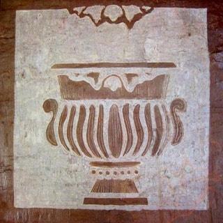 Karmic Stone 'Classical Grecian Urn' Hand-carved Stone Garden Themed Artisan Tile