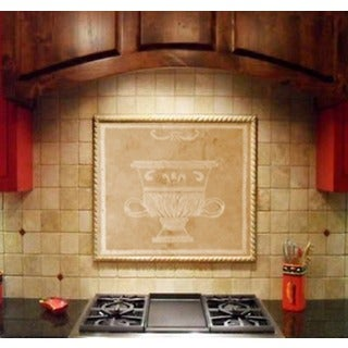Custom Kitchen Tile - 'Grecian Urn' Artisan Stone Tile for Backsplash - Handmade