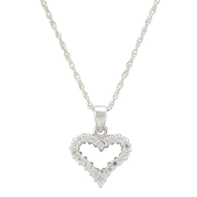 Unending Love Sterling Silver 1/4ct TDW Diamond Heart Necklace (I-J, I2-I3)