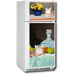 Appliane Art's Lounging Cat Top/ Bottom Refrigerator Cover