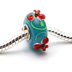 Murano Inspired Glass Blue/ Green/ Red Flower Charm Beads (Set of 2)