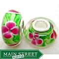 Murano Inspired Glass Green with Pink Flower Charm Beads (Set of 2)