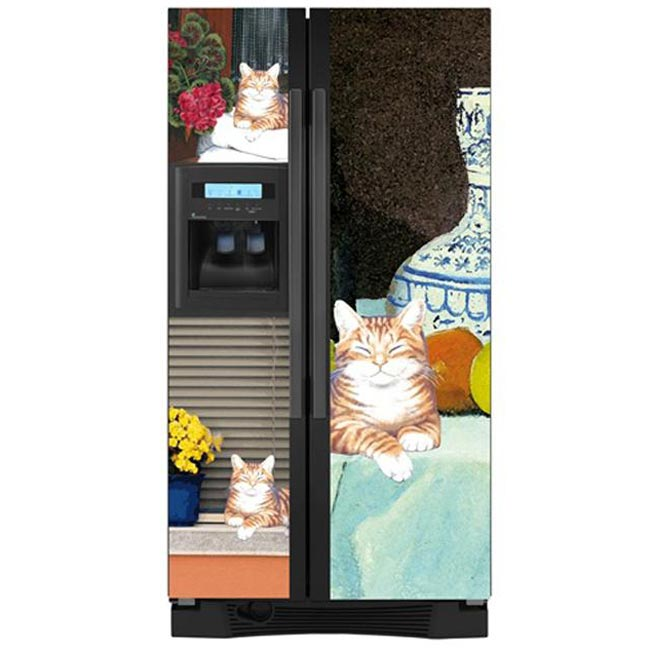 Appliance Art Lounging Cat Side-by-side Refrigerator Cover