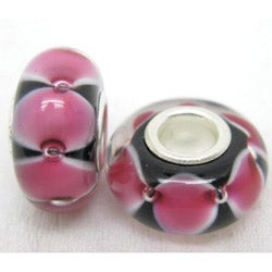 Murano Inspired Glass Black and Pink Charm Beads (Set of 2)
