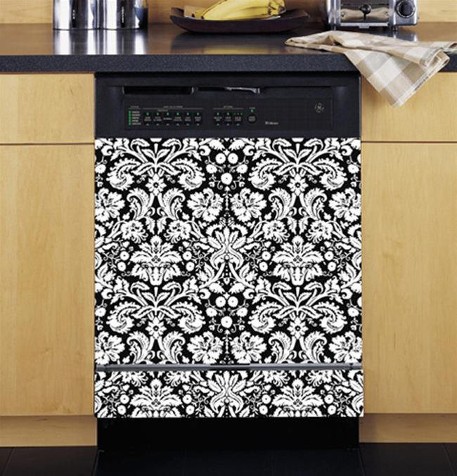 Appliance Art Damask Black and White Dishwasher Cover