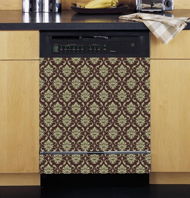 Appliance Art's Damask Cream and Brown Dishwasher Cover