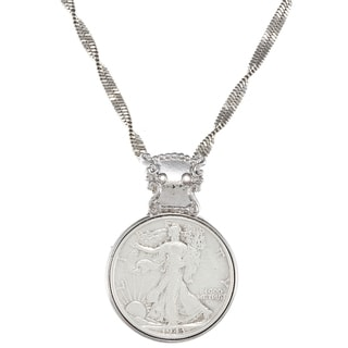 American Coin Treasures Silver Walking Liberty Half Dollar in Silvertone Bezel Pendant