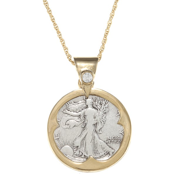 American Coin Treasures Silver Walking Liberty Half Dollar Crystal Bail Pendant