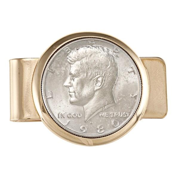 American Coin Treasures JFK Half Dollar Goldtone Moneyclip