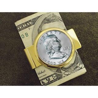American Coin Treasures Franklin Half Dollar Goldtone Moneyclip