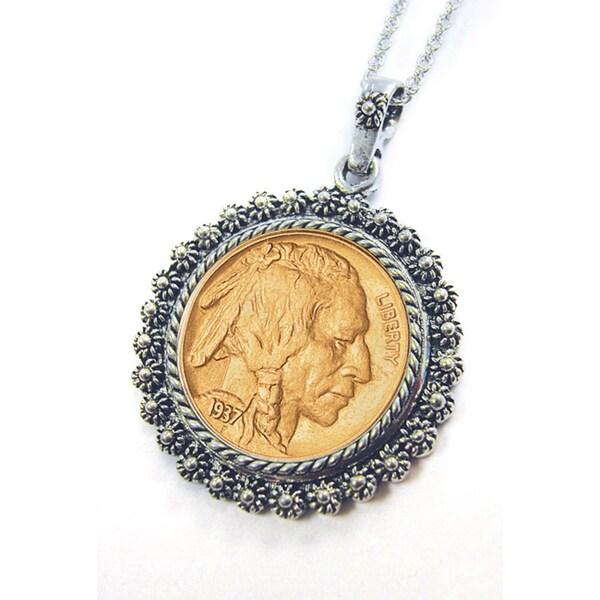 American Coin Treasures Gold-layered Buffalo Nickel 24-inch Chain Silvertone Blossom Pendant