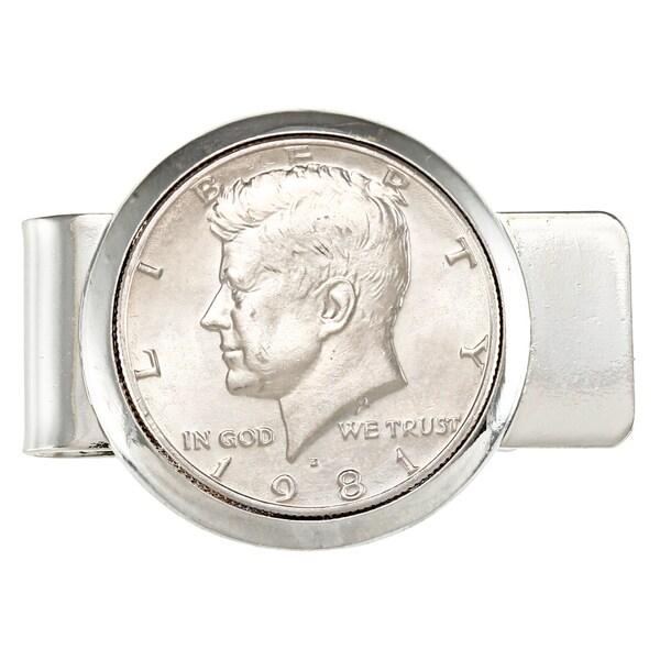 American Coin Treasures Silvertone JFK Half Dollar Money Clip