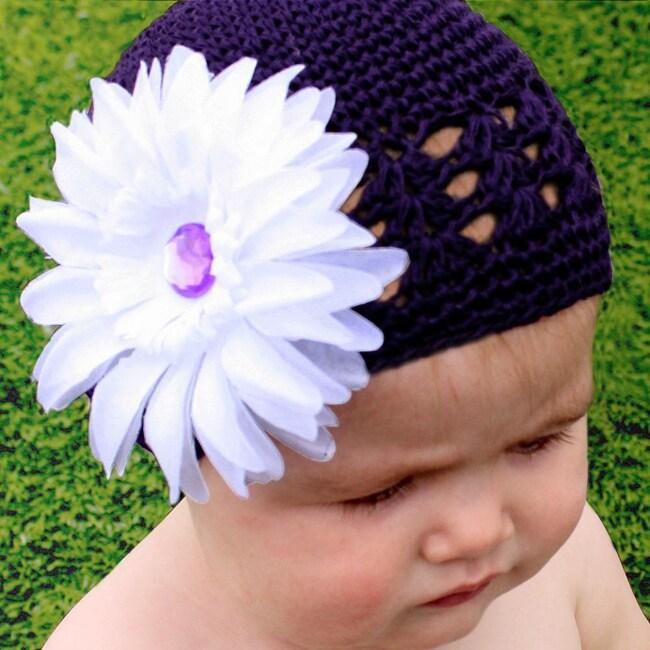 Headbandz Purple Crocheted Hat with White Flower