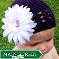 Headbandz Purple Crocheted Hat with White Flower